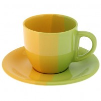 Чайная пара зелёно-жёлтая 200 мл.